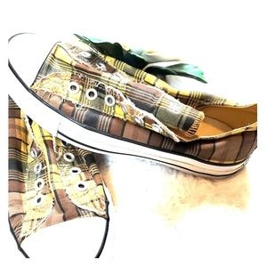 Converse All Star Plaid Brown Sneakers